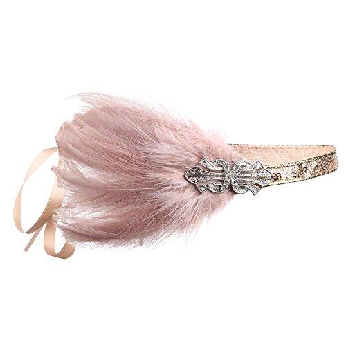 ArtiDeco 1920s Stirnband Damen Gatsby Kostüm Accessoires 20er Jahre Flapper Feder Haarband