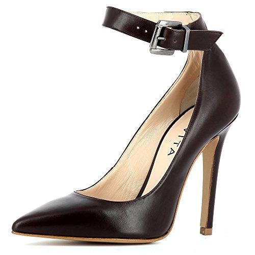 LISA escarpins femme cuir lisse marron foncé