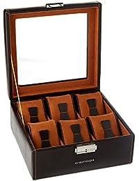 Friedrich 23, Uhrenkasten, Für 6 Uhren, Leder-Optik, Mit Glasdeckel, 18 x 18 x 8,5 cm, Abschließbar, Bond, Feinsynthetik, Braun, 20085-3