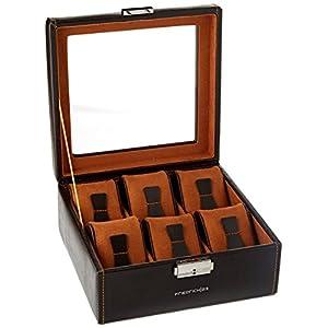 Friedrich|23, Uhrenkasten, Für 6 Uhren, Leder-Optik, Mit Glasdeckel