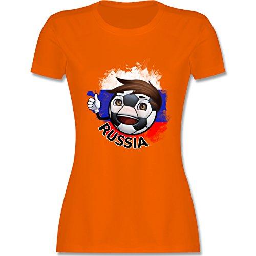 EM 2016 - Frankreich - Fußballjunge Russland - tailliertes Premium T-Shirt mit Rundhalsausschnitt für Damen Orange