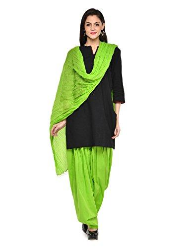 Stylenmart Women Cotton Solid Full Patiala Salwar Dupatta Set (Stmapa078613 _Green _Free Size)