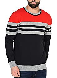 GRITSTONES Red/Grey Melange/Black Full Sleeve Round Neck Sweatshirt GSSWTSHT1625RDGMBLK_S