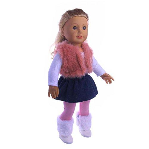 Anzieh Kleidung für für 18 Zoll American Girl, AmaMary 4PC / Set Puppe Kleidung Kleid Outfit Weste Hosen T-Shirt Set für 18 '' American Girl Generation Puppe