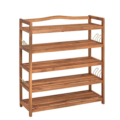 ESTEXO Holz Schuhregal mit 5 Etagen, 80 x 30 x 90 cm, Schuhschrank, Regal, Schuhablage, zum aufhängen mit Haken, Akazie
