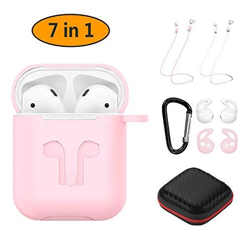 Hianjoo Cover Compatibile per Apple AirPods 1/2 (LED Anteriore Non Visibile), 7-in-1 Accessori Protettiva Antiurto Silicone Custodia Compatibile per Apple AirPods - Rosa