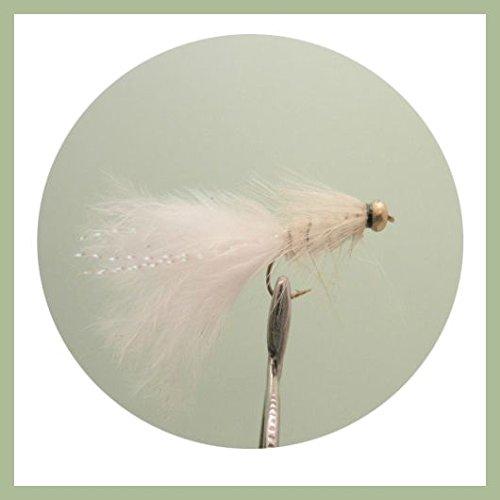 Lure Forelle Fliegen, 6Stück Weiß wollig Buggers Wahl von Größen
