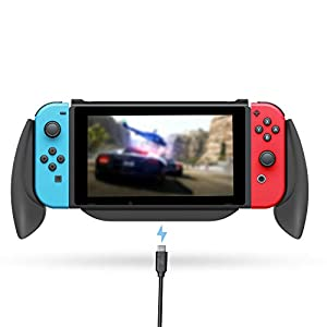 Lammcou Switch Halter für Nintendo Switch Controller Griff Hülle Ständer Grippro Grip Case Handgriff Halter Ladegriff mit Spiele Aufbewahrungsbox für Switch Spiele Splatoon FIFA Yoshi's – Schwarz
