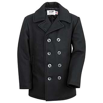 """Schott NYC Wool Pea Coat, dark navy (46"""" chest)"""