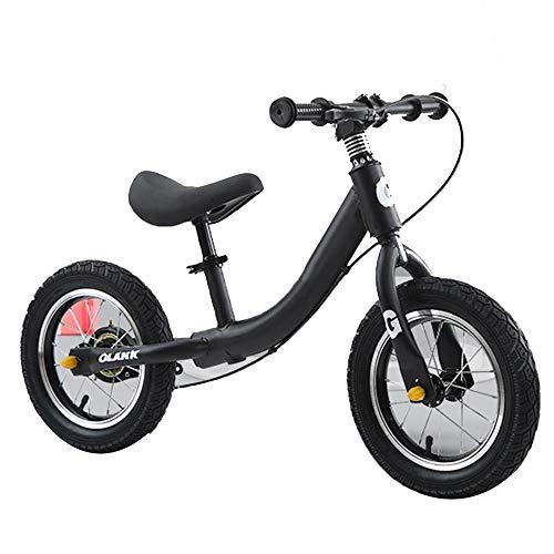 YUMEIGE Bicicletas sin Pedales Bicicletas sin Pedales,con Freno de Mano,Bicicleta de Equilibrio para niños-Asiento de Altura Ajustable,Asiento Ajustable Negro, Verde, Rosa, Plateado (Color : Black)