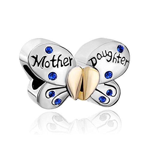 Uniqueen 1paio farfalla madre e figlia cuore con ciondoli portafortuna perline per bracciali chamilia, base metal, colore: blue, cod. butterfly