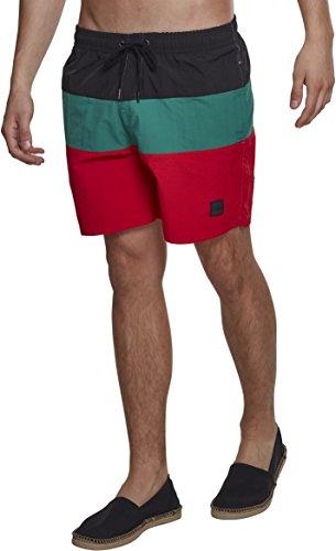 Urban Classics Herren Schwimmshirt Color Block Swimshorts, Mehrfarbig (Firered/Black/Green Preisvergleich