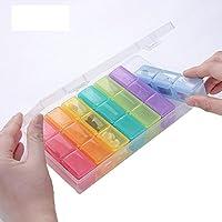 WAOBE Pill Box - tragbare kleine Box Carry 21 Große Speicherkapazität Flexibilität und vielfältige Farben, 203x109x36mm preisvergleich bei billige-tabletten.eu