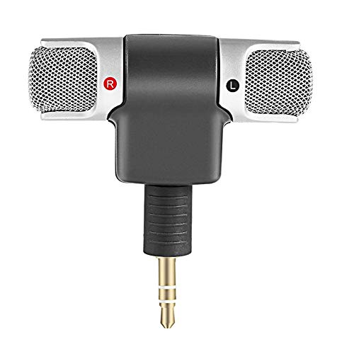 CloverGorge Portable Size Digital Mini Stereo Microphone Mic 3.5mm Mini Jack for PC Laptop Notebook Left and Right Channel Stereo Recording Portable Digital Video Recording System