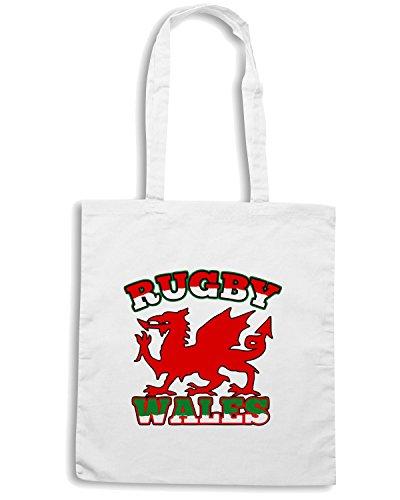 T-Shirtshock - Borsa Shopping TRUG0069 rugby wales flag logo Bianco