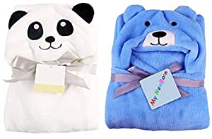 My NewBorn Baby Ultra Soft Hooded Bath Fleece Robe Cum Wrapper (Panda White, Puppy Sky) - Pack of 2 Pieces