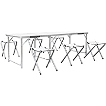 HOMFA Mesa de jardin 180*60*55cm MDF con 6 sillas Altura Ajustable Blanco capacidad para 30 kg