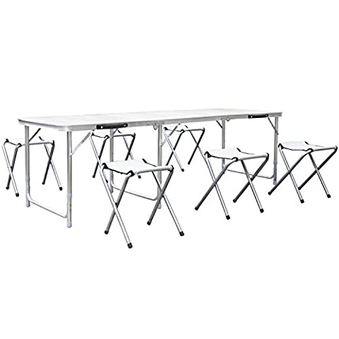 HOMFA 1.8M 6FT Garden Camping Tables with 6 Chairs Adjustable