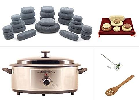 MassageMaster HOT/COLD STONE MASSAGE KIT: 35 Basalt/Marmor Steine + Wärmegerät