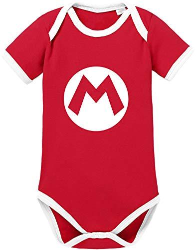 AngryShirts Mario Kostüm Body Baby Kurzarm Bio Baumwolle