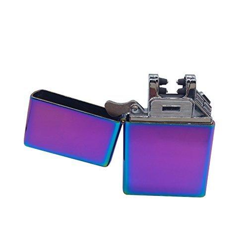Elektronisches Feuerzeug Mini -The Flame- USB Zigarettenanz&uumlnder Elektrische Feuerzeuge Aufladbar Double Lichtbogen (Violett)