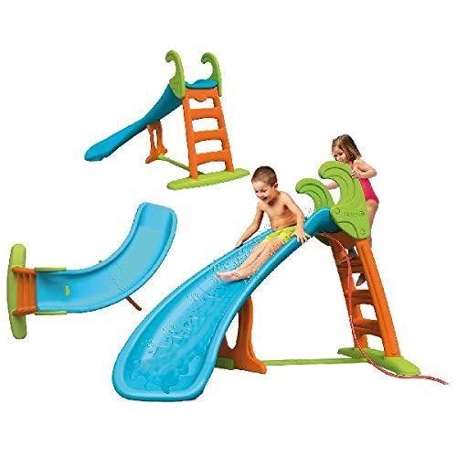FEBER Curve Slide - Toboggan courbé à eau, pour enfants de 3 à 10 ans, Bleu (Famosa 800008359)