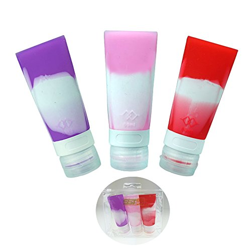 Portable Mini Leak Proof Silicone Travel Bottle Set,TSA Approved multifunction Silicone Travel Container For Shampoo,Conditioner,Lotion,Toiletries,100%Food-grade Silicone 60ML*3 (Pink,Red,Purple)
