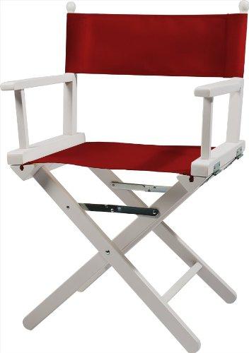 Moonich Regiestuhl Alfred, Holzfarbe: weiß, Stofffarbe: rot, schwarzer Aufdruck