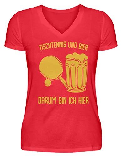 Kleidungskulisse Tischtennis Und Bier Darum Bin Ich Hier Bier Sport Party Feiern Trinkspiele Lustig - V-Neck Damenshirt -S-Kaiserliches Rot