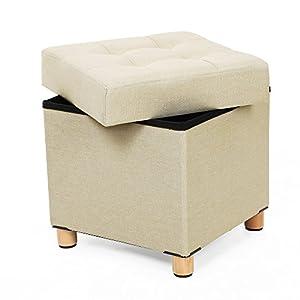 SONGMICS Sitzhocker viereckige Sitztruhe Fußhocker Aufbewahrungsbox mit Holzfüßen Deckel 38 x 40 x 38 cm Beige LSF14BE