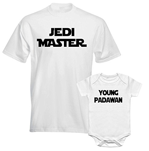 Jedi Master Young Padawan Force Star War Dad Son Father Daddy Matching T shirt - White Colour Men and Children Tees - Family Match T-shirts