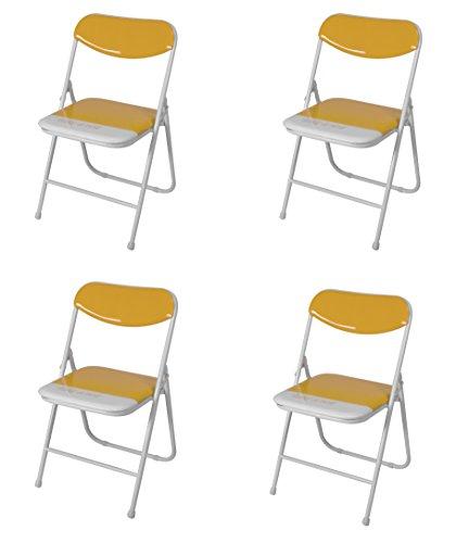 Due-home (Candy) Pack 4 sillas Plegables Estructura metálica y PVC Brillante 47x46x76...