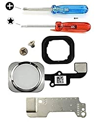 Mmobiel Home Button For Iphone 6 6 Plus (White) With Flex Cable Incl Metal Bracket Key Cap Rubber Gasket Incl 2 Screws & 2 X Screwdrivers For Easy Installation