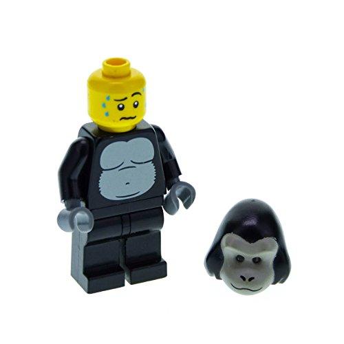 1 x Lego System Sammelfigur Minifiguren Serie 3 Mann im Gorilla Kostüm Torso schwarz neu-dunkel grau Affen Kopf für (nur Figur) col03 (Lego Kostüm Kopf)