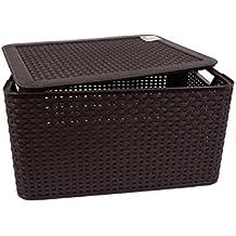 Curver Style, Caja Organizadora Con Tapa, Chocolate, L (30 L - 44x33x23