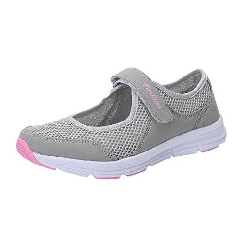 Ansenesna Sandalen Damen Sommer Klettverschluss Flach Sport Sommerschuhe Offen Stoff Atmungsaktiv Schuhe (40, Grau)