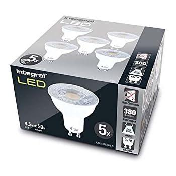 5 PACK GU10 PAR16 4.7W 2700K 410lm Non-Dimmable Lamp 53W