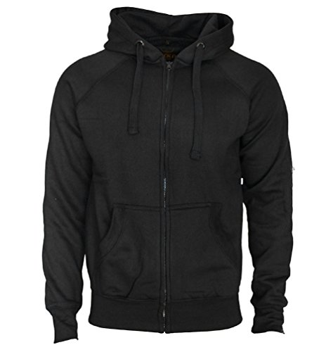 Kapuzenjacke Slim Fit Sweatjacke Heavy Hoodie Zipper Workerhoodie Pullover - Herren - Schwarz von ROCK-IT Medium (Hoodie Sweatshirt Rock)