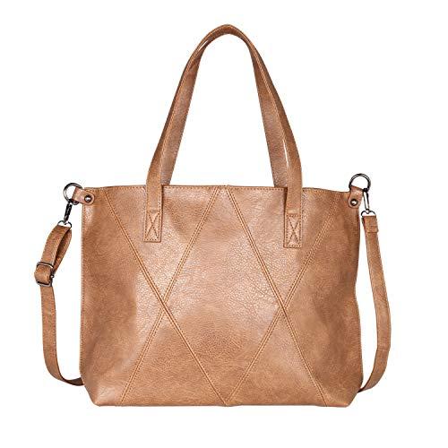 Yadelai Damen Handtaschen, Große Kapazität Weiche PU-Leder Tote Handtaschen Umhängetasche für Damen,Multi-Tasche Laptop Reise Work Schulter Crossbody Tote Bag für Frauen(Braun) -