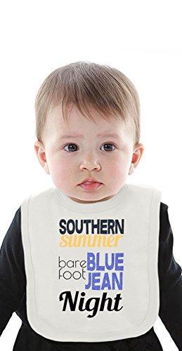 Southern Summer Bare Foot Blue Jean Night Organic Bib With Ties Medium