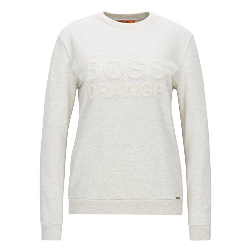 BOSS Orange Damen Langarmshirt Talogo 10199623 01 Weiß (Open White 116)
