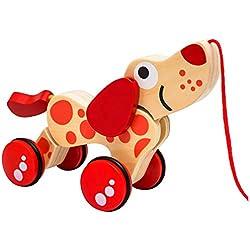 Perro Dackel Natureich - Juguete de madera con correa / Animal de madera Perro con correa para niños a partir de 36 meses