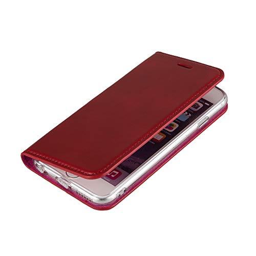 Wormcase ® Handytasche kompatibel mit iPhone 6-6S - Echtleder - HANDGEFERTIGT - KARTENFACH - MAGNETVERSCHLUSS - Farbe Rot - Case Tasche Etui I-Phone Flip-Case Cover Schutzhulle aus Echtleder