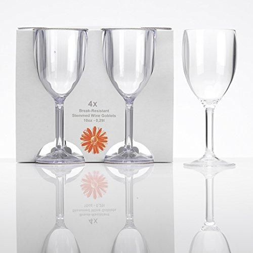 l, 4 Stück klar Camping Gläser Zubehör Trink Glas Kunststoff Kelch Trinkkelch Goblet Rotwein Acrylglas Partyglas Wasserglas Bruchfest Trinkbecher Becher Whiskyglas Whiskey Gläser ()