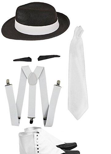 Neue 1920's Gangster-Kostüm Zubehör Schwarzer Filzhut weiß mit weißer Hosenträger Gamaschen, weiß, Gangster Gangster Tash LS Glamour Raum (Gangster Kostüm Mob)