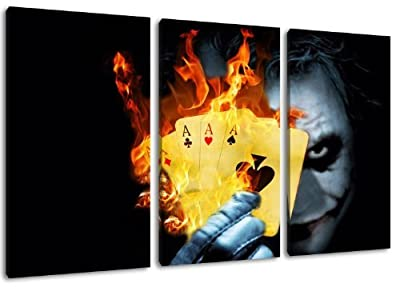 Joker 3-Piece Canvas Wall Art, overall size: 120 x 80 CM)-High-Quality Art Print Wandbild. Cheaper than AN oil Painting Warning! Not A Poster!