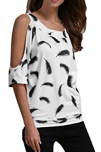 Lettre damour les Femmes Épaule Froide Printing Occasionnel au Pull Chemise Chemisier white