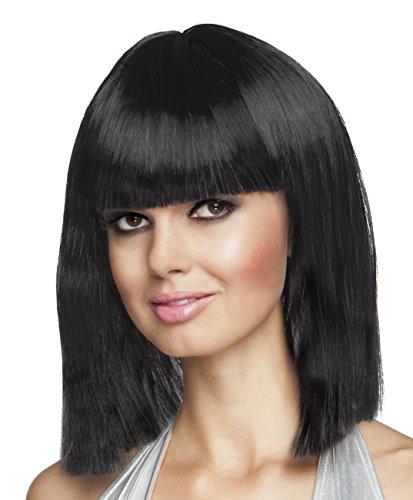 Smiffys Damen Kurzer Blunt Haarschnitt mit Pony Perücke, Glam Perücke, Schwarz, One Size, 42132