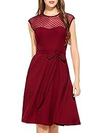 Zeagoo Elegant Damen Kleider Kurzarm Retro Vintage 50er Jahr Sewing  Rockabilly Kleid Cocktailkleid Abendkleid… f7912c421d