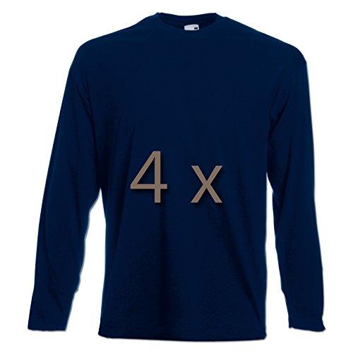 4 Fruit of the Loom T Shirt Longsleeve M L XL XXL Langarm verschiedene Farbsets auswählbar (XXL, Navy) (Fruit Of The Loom Herren Langarm)
